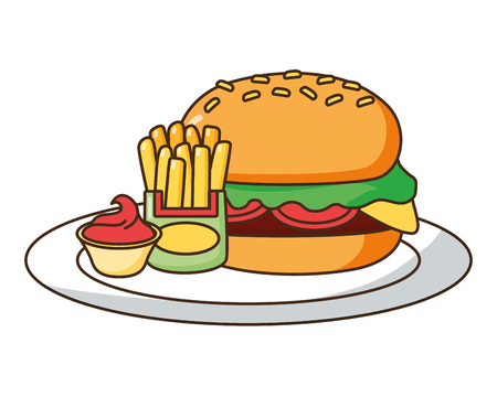 burger french fries and sauce fast food vector illustration Stock Vector - 124160588