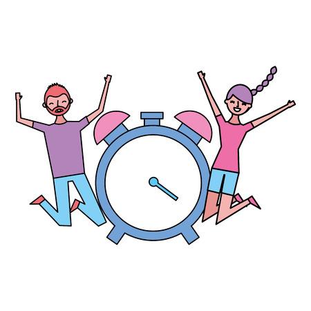 Happy man and woman clock alarm vector illustration Stock Vector - 119808444