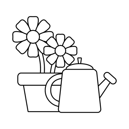 potted flowers watering can gardening vector illustration