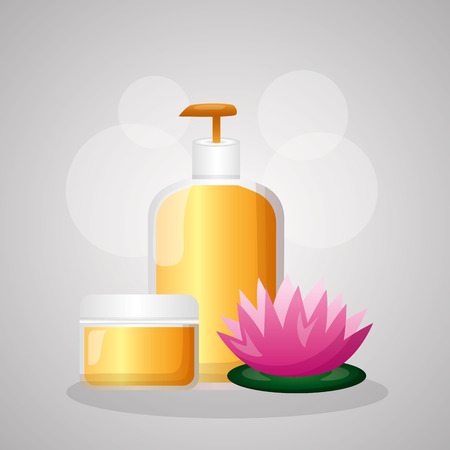 skin care bottle cream bamboo spa treatment therapy vector illustration