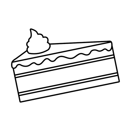 sweet cake slice on white background vector illustration  イラスト・ベクター素材