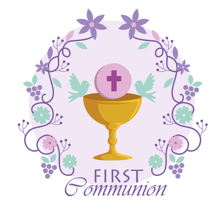 Chalice with holy host and branches to traditional event vector illustration Illustration