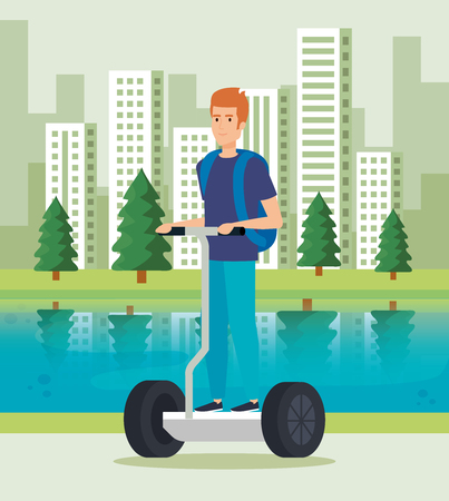 A man riding electric scooter with backpack vector illustration