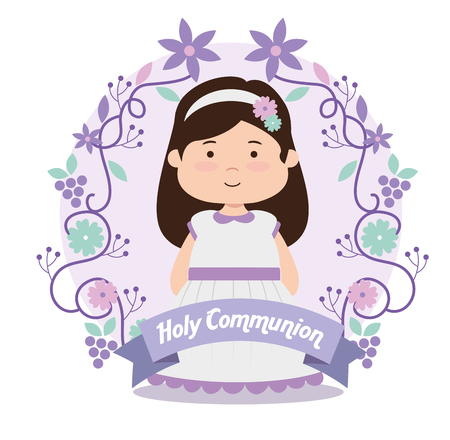 A girl with dress and ribbon to first communion vector illustration