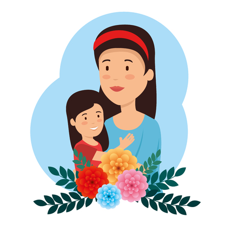 beauty woman with her daughter and flower to mothers day vector illustration