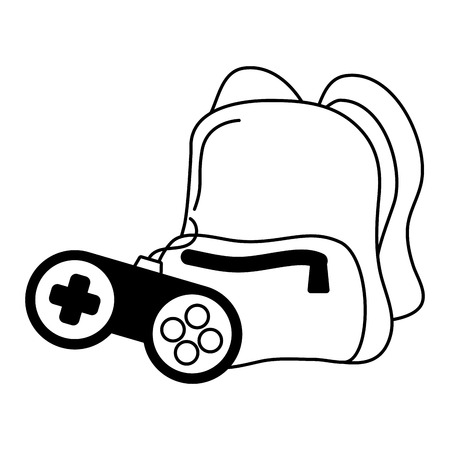 backpack and control video game vector illustration Illustration