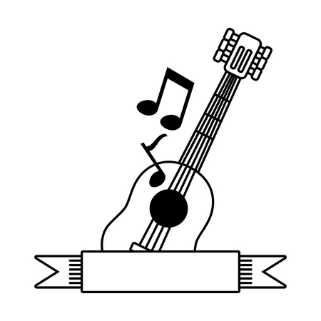 music guitar note ribbon on white background vector illustration Illustration