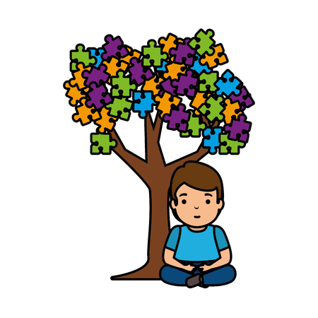 boy with tree puzzle attached vector illustration design Banque d'images - 124145109
