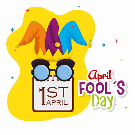 joker hat with funny glasses and calendar to fools day vector illustration
