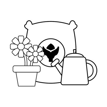 gardening sack soil flowers watering can vector illustration Banco de Imagens - 124145139