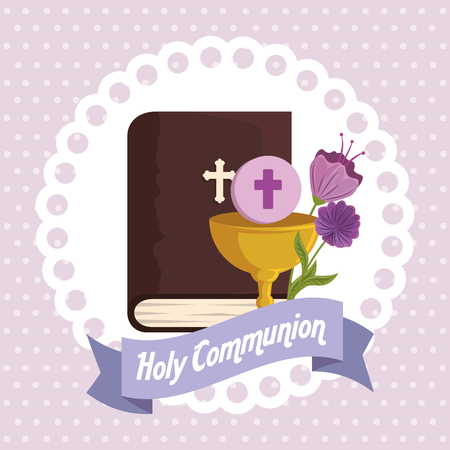 bible with chalice and holy host to religion event vector illustration