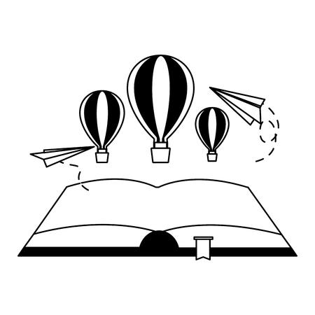 open book hot air balloon paper plane vector illustration Ilustrace