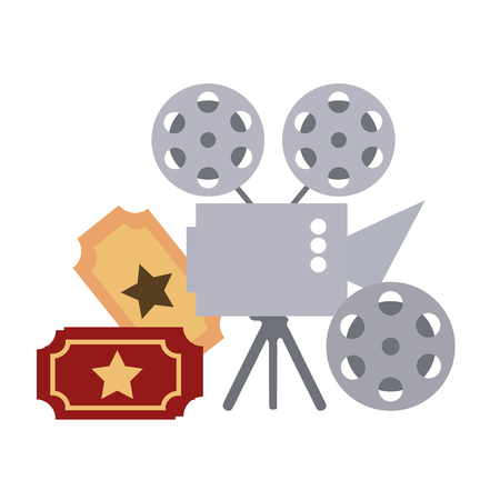 cinema projector and ticket isolated icon vector illustration design Foto de archivo - 124145174