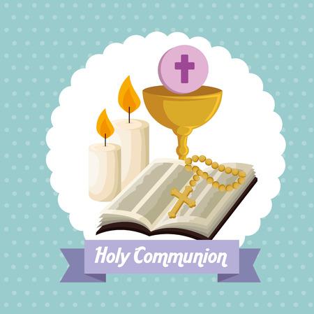 bible avec calice et hôte à la première illustration vectorielle de communion Vecteurs