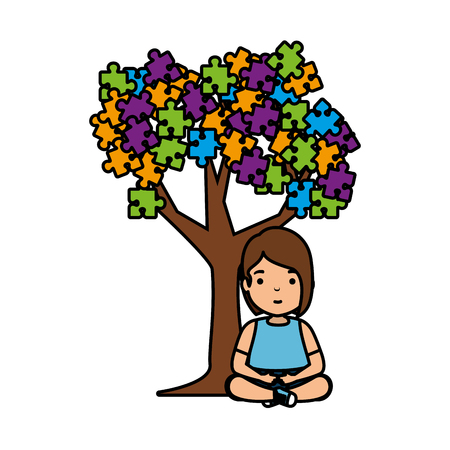 girl with tree puzzle attached vector illustration design Иллюстрация