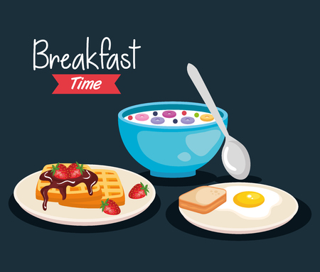 cereal with spoon and fried egg with waffles vector illustration Stockfoto - 119817865