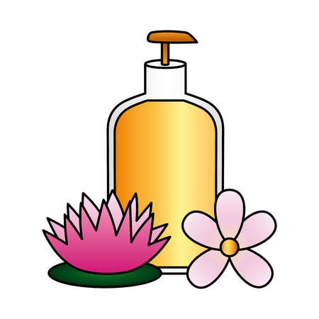 lotion dispenser flowers spa treatment therapy vector illustration