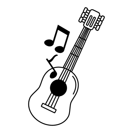 musical guitar icon on white background vector illustration