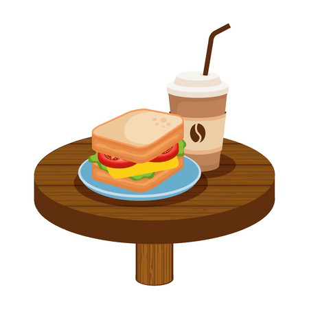 delicious breakfast in wooden table vector illustration design