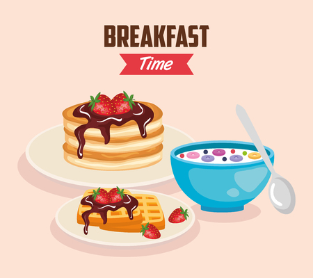 delicious cereal with pancakes and waffles nutrition vector illustration Banque d'images - 119830354