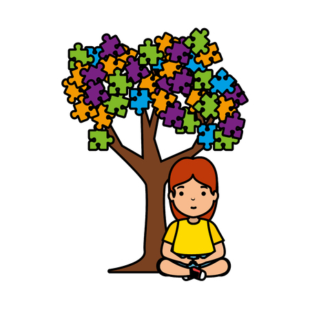 girl with tree puzzle attached vector illustration design