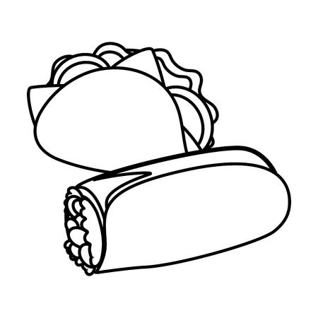 taco and burrito fast food white background vector illustration  イラスト・ベクター素材