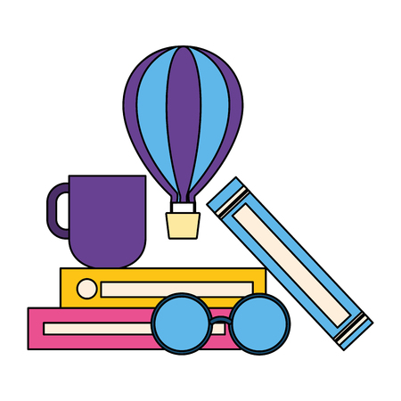 world book books coffee cup and eyeglasses vector illustration  イラスト・ベクター素材