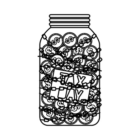 tax day mason jar with coins and chain vector illustration design