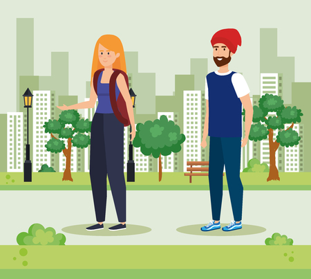 woman with backpack and man with beard wearing hat vector illustration Foto de archivo - 119830396