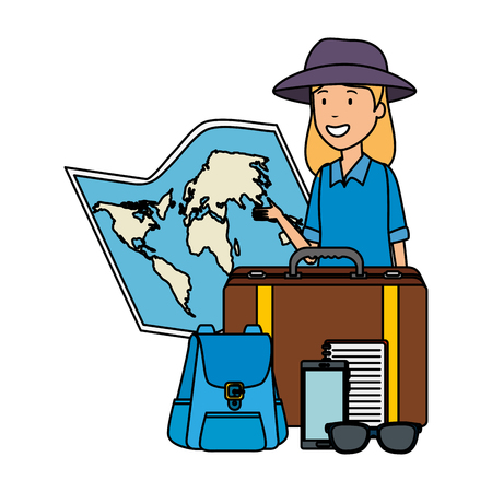 tourist woman with paper map and travel icons vector illustration design
