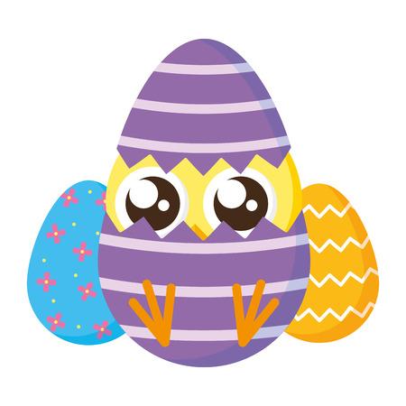 cute little chick with shell egg broken vector illustration design