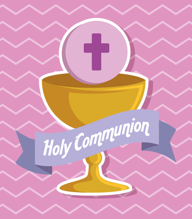 chalice with holy host and ribbon to event vector illustration