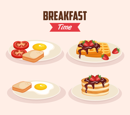 set delicious fried egg with waffles and pancakes vector illustration