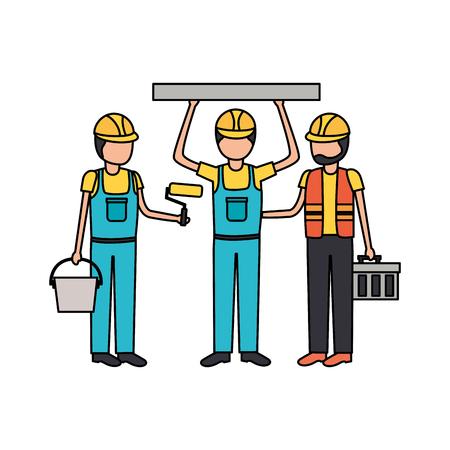 workers construction blueprint repair equipment vector illustration Illustration