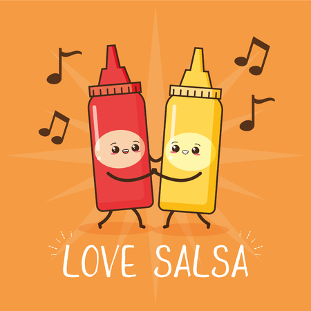 kawaii sauces love salsa fast food cartoon vector illustration