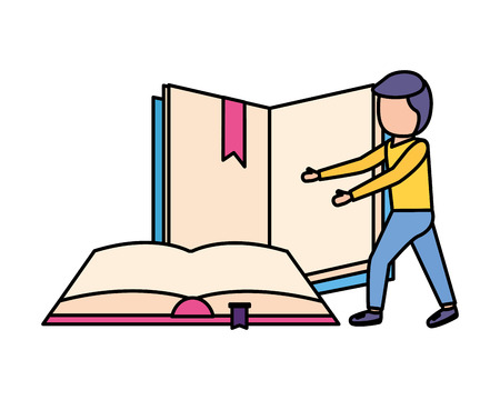 man student with books learning vector illustration Stock Vector - 124145320
