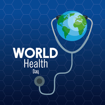 earth planet with stethoscope to health day vector illustration Banque d'images - 119833338