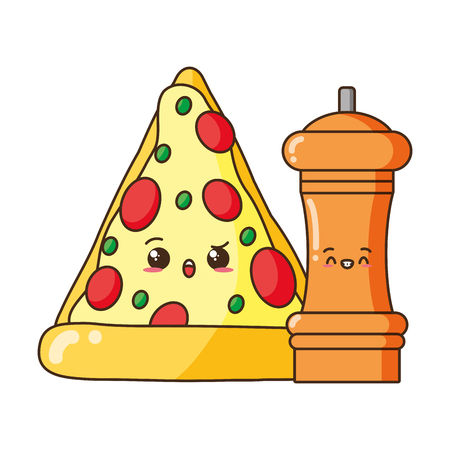 kawaii pizza and pepper food cartoon vector illustration Иллюстрация