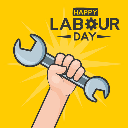 happy labour day hand with wrench tool vector illustration