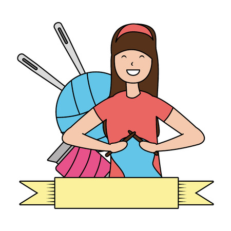 woman knitting with wool hobby vector illustration