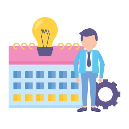 businessman clock time calendar bulb gear vector illustration vector illustration
