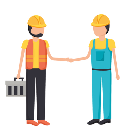 construction workers with toolkit equipment vector illustration