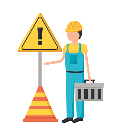 construction worker box traffic cone alert sign vector illustration Vetores