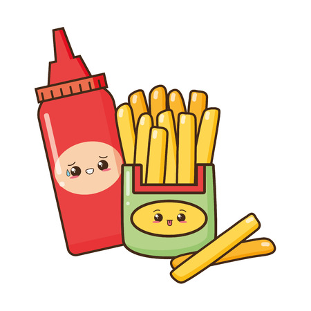kawaii cartoon french fries and ketchup character vector illustration