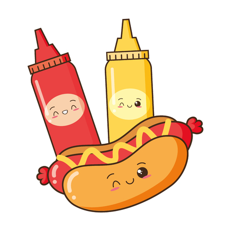 kawaii cartoon hot dog sauces mustard ketchup vector illustration