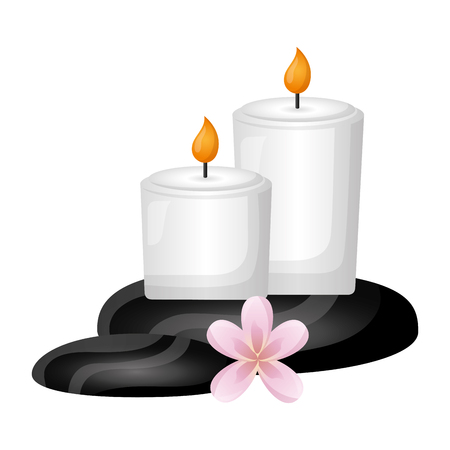 candles stones flower spa treatment therapy vector illustration