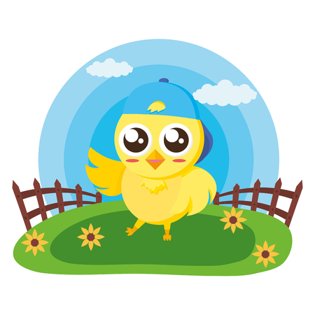 cute chick with fence in the meadow vector illustration Standard-Bild - 124145415