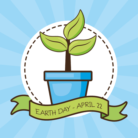 potted plant sticker earth day card vector illustration