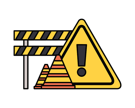 barricade repair construction cone traffic sign vector illustration