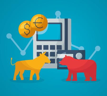 bull bear calculator bank card financial stock market vector illustration  イラスト・ベクター素材